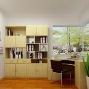 朴素两居室小书房整体书柜效果图