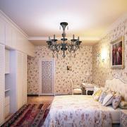三室一厅韩式田园风格卧室大衣柜效果图