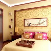 中式卧室床头背景展示