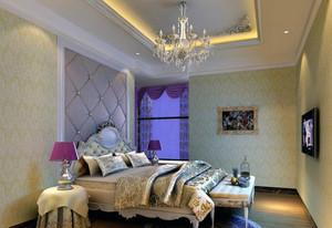 2016二居室欧式卧室软包背景墙装修效果图