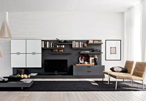 时尚简约大客厅黑白组合电视柜效果图片