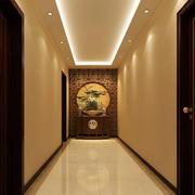 老年公寓新中式风格走廊吊顶装修效果图