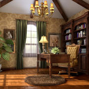 2016美式自然风情大书房设计效果图