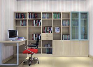 别墅型现代欧式书房书柜装修效果图