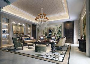 90平米大户型欧式风格客厅室内装修效果图大全