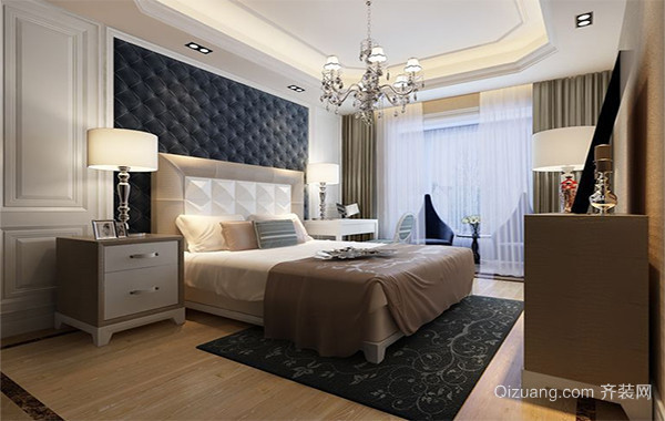 90平米大户型简欧风格卧室背景墙装修效果图