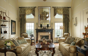 大户型别墅复古风情客厅窗帘效果图