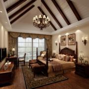 2016美式装修风格样板房卧室装修效果图