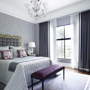 2016后现代风格大卧室窗帘效果图