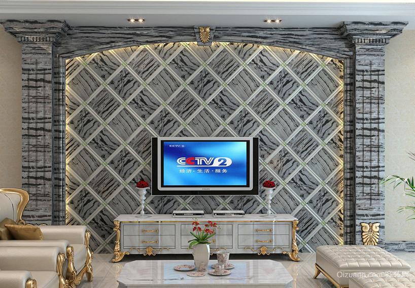 简欧豪华别墅客厅个性电视墙设计效果图