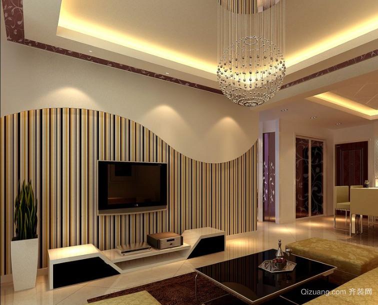 90平米大户型欧式客厅电视墙背景装修效果图