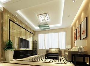 现代风格两室一厅客厅吊顶装修效果图