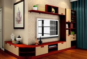 2016两居室客厅转角实木电视柜效果图