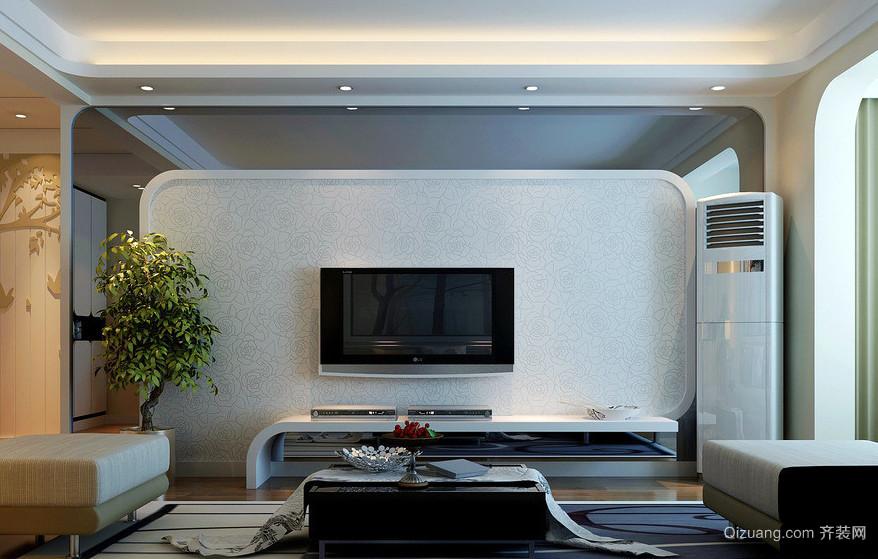 时尚简约的两室一厅客厅电视墙设计图