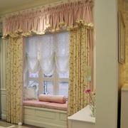 粉色稚嫩的卧室田园风窗帘效果图