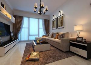 89平米两居室现代客厅窗帘效果图