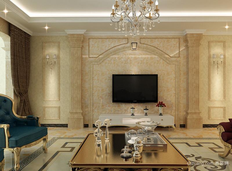 欧式客厅米黄色大理石电视墙设计图