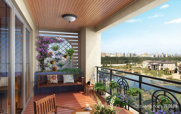 与自然亲密接触的清新阳台设计效果图