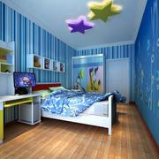 蓝色儿童房条纹壁纸