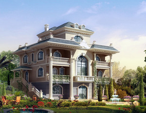 2016现代唯美别墅外墙砖外观设计效果图