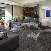 别墅舒适客厅地毯展示