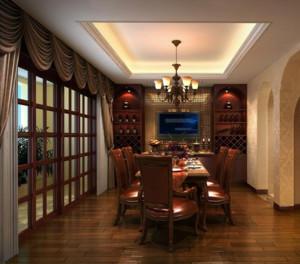2016别墅美式装修风格样板房餐厅装修效果图