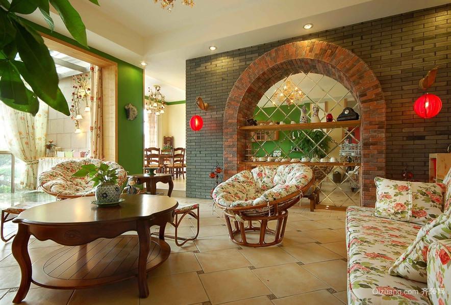 120平米大户型欧式客厅室内装修效果图大全