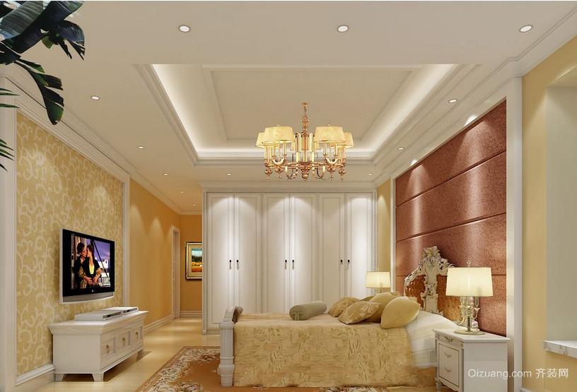 2016别墅型简欧风格卧室背景墙装修效果图
