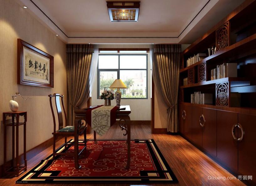 2016大户型精致中式风格书房吊顶装修效果图