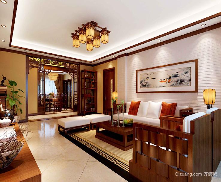 精致的暖色调中式客厅背景墙装修效果图鉴赏
