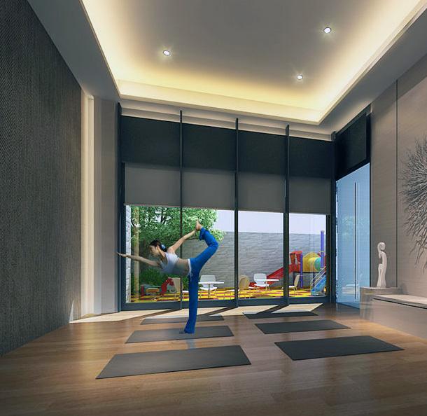 2016都市欧式装修瑜伽馆室内吊顶装修效果图图片