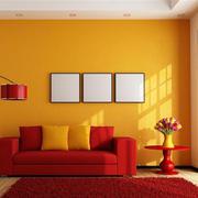 单身公寓家居客厅红艳地毯图片欣赏