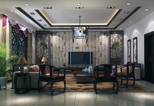 90平米大户型现代中式家装客厅室内装修效果图