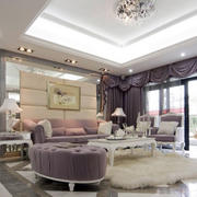 简欧风144平米大户型家居客厅地毯图片