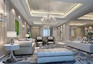 120平米房子欧式现代客厅吊顶装修效果图