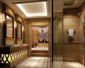 143平米三居室整体简欧卫生间设计图