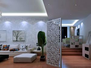 88平米错层家庭客厅活动隔断屏风效果图