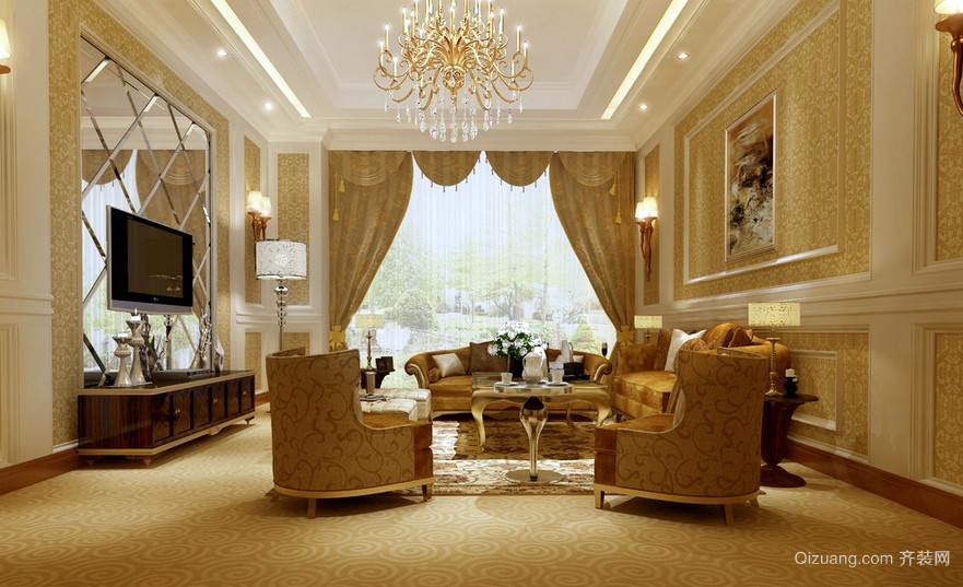 超豪华金色大别墅欧式家居客厅地毯图片