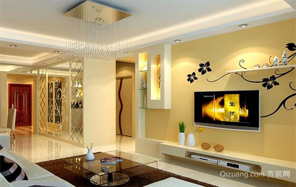 欧式家庭房间客厅背景墙装修设计效果图实例
