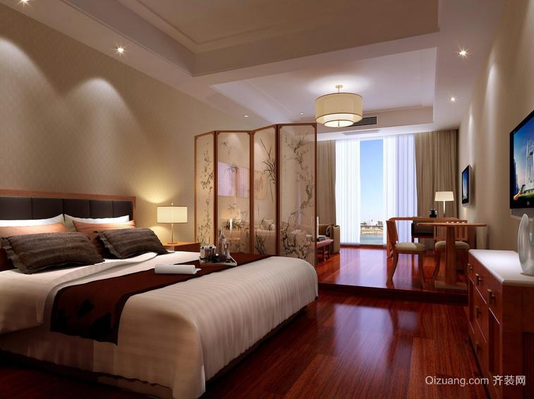 新中式小户型卧室活动隔断屏风效果图