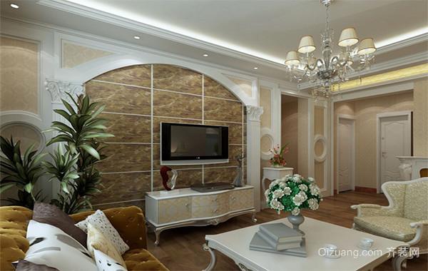 独特的大户型欧式风格家庭客厅电视墙装修图片