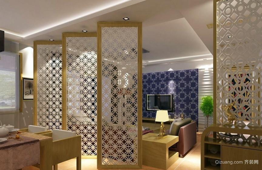 新中式小户型卧室活动隔断屏风效果图 齐装网装修效果图