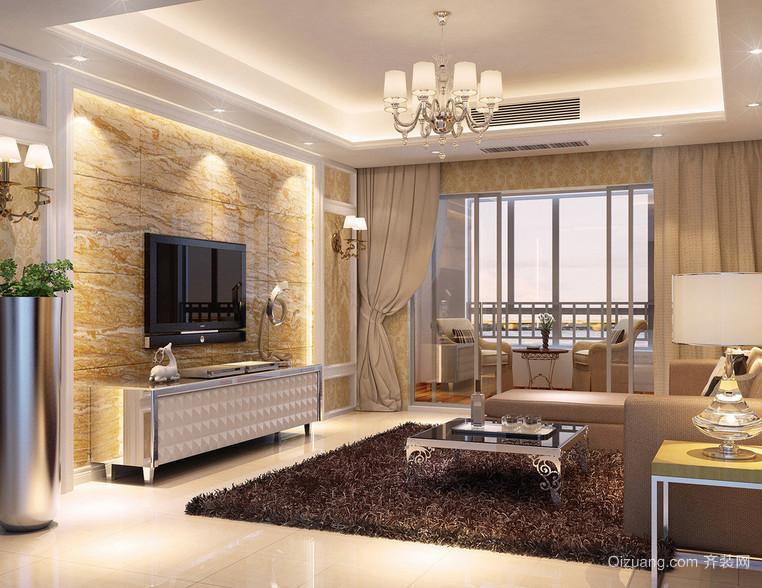 现代三居室简欧风格客厅装修效果图案例