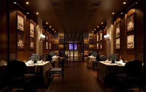 深色系高端餐厅展示