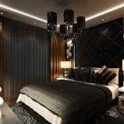 后现代深色系卧室图片