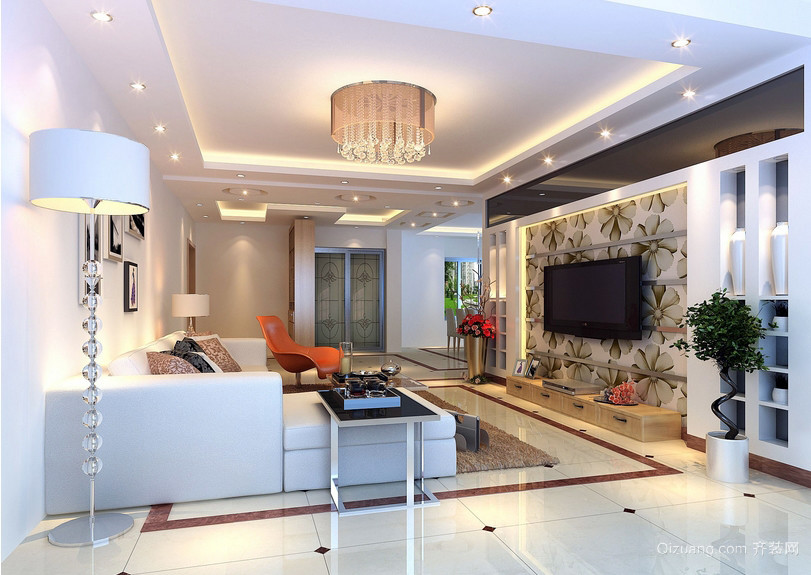 90平米现代房屋客厅电视墙装修效果图