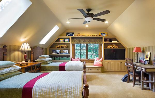 2016大户型欧式斜顶阁楼室内装修效果图