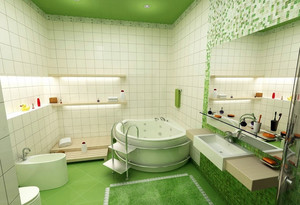 清新宜家10平米卫生间瓷砖贴图