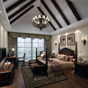 大户型美式装修风格样板房卧室装修效果图