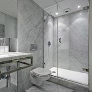 现代单身公寓卫生间灰白色瓷砖贴图